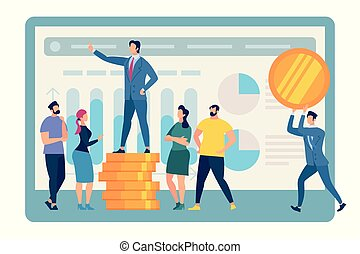 Speaking Business Coach Stand on Golden Coin Pile