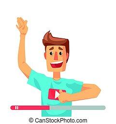 speaking., coloré, blogger, caractère, illustration, vecteur, vidéo, émotif, dessin animé, homme