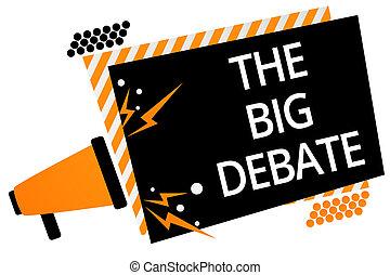 speaking., fotokader, boodschap, luidspreker, zakelijk, schrijvende , aantekening, toespraak, argumenten, debate., lezing, megafoon, presentatie, congres, groot, het tonen, verschillen, sinaasappel, belangrijk, gestreepte , showcasing