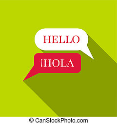 Speaking spanish icon, flat style - Speaking spanish icon. ...