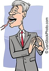 speaking with forked tongue cartoon - Cartoon Humor Concept...