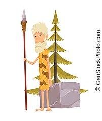 spear., megkövez, öreg, barlanglakó ősember, életkor, character., karikatúra, ember