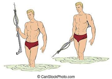 spearfishing., buzo, arma de fuego