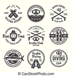 spearfishing, emblemas, vector, negro, buceo, escafandra autónoma