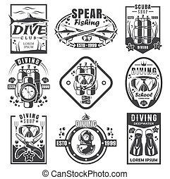spearfishing, vector, conjunto, logotipo, buceo, monocromo, escafandra autónoma, ilustración, vendimia