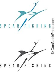 spearfishing vector illustration set with outline marlin