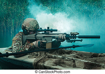 Spec ops in the military kayak - Special forces operators in...