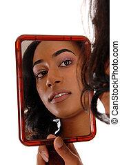 specchio, immagine, di, americano africano, girl.