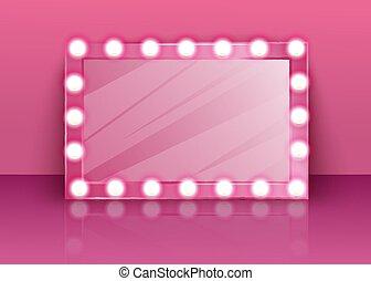 specchio, rosa, trucco, lampade, room., lucido, abbigliamento