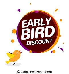 speciální, rabat, promo, ikona, ptáček, prodej, vektor, časný, icon., firma, prapor, karikatura, nabídnout