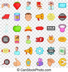 Special advertising icons set, cartoon style