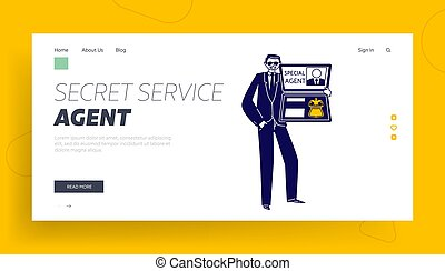 Special Agent Show Id Landing Page Template. Male Character Wear Dark Suit Holding Identity with Photo and Coat of Arms