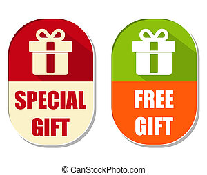 special and free gift with present box sign, two elliptical...