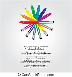 special background with a set of colorful pens