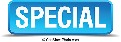 Special blue 3d realistic square isolated button