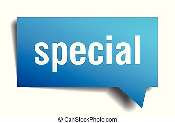 special blue 3d speech bubble