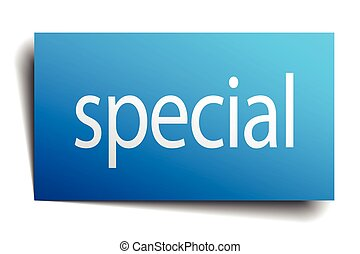 special blue paper sign on white background