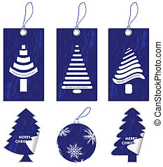 special blue price tags, labels and ball with Christmas design