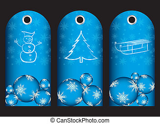 special blue price tags with christmas design