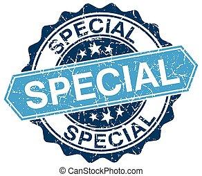 special blue round grunge stamp on white