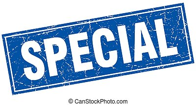 special blue square grunge stamp on white