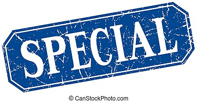 special blue square vintage grunge isolated sign