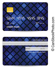 special blue vector credit card, front and back view