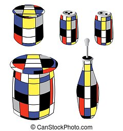 Special bottles and cans in vintage style: olive oil, sugar, cereals, salt and pepper illustration on a plain white background. Kitchen Set. illustration