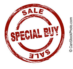 A stylized red stamp shows the term sale special buy. All on white background.