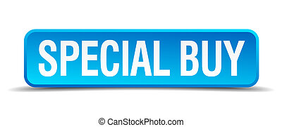 Special buy blue 3d realistic square isolated button