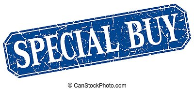 special buy blue square vintage grunge isolated sign