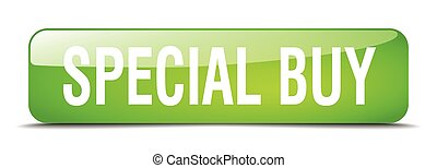special buy green square 3d realistic isolated web button