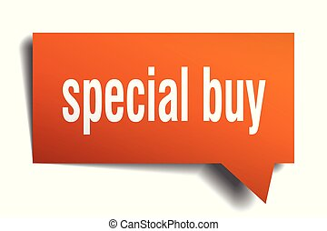 special buy orange 3d speech bubble