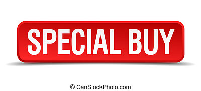 Special buy red 3d square button isolated on white