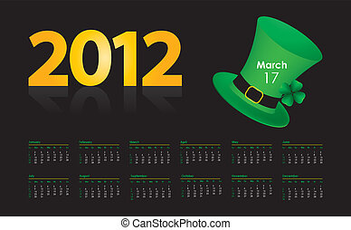 special calendar with St. Patrick's Day design