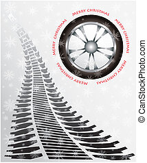 special Christmas card with tire design