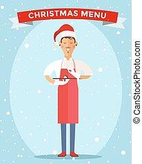 Special Christmas menu cook chef vector illustration