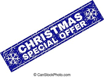 SPECIAL CHRISTMAS OFFER Grunge Rectangle Stamp Seal with Snowflakes