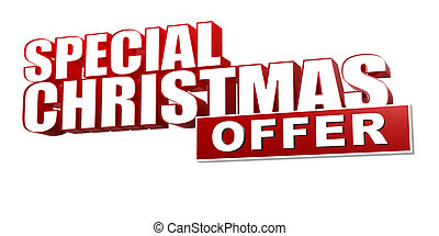 special christmas offer in 3d red letters and block over...
