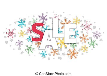 christmas offer sale banner with color snowflakes