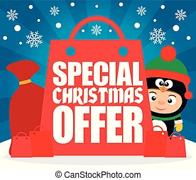 Special Christmas offer with child in costume penguin