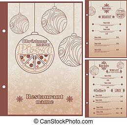 Special Christmas Restaurant menu for pizza