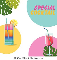 Special Cocktail Two Glasses Of Cocktail Background Vector Image