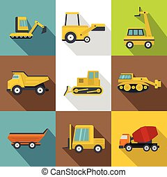 Special construction vehicles icons set