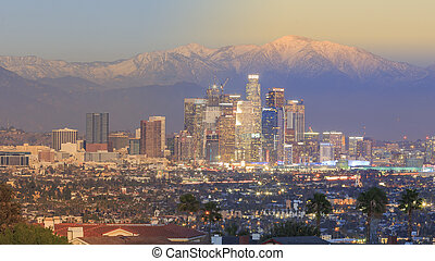 Special day to night view of Los Angeles Downtown