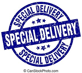 special delivery blue round grunge stamp