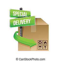 special delivery concept sign illustration