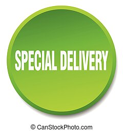 special delivery green round flat isolated push button