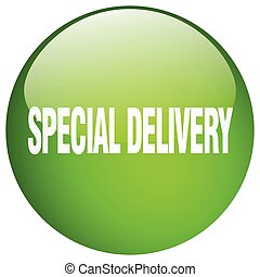 special delivery green round gel isolated push button