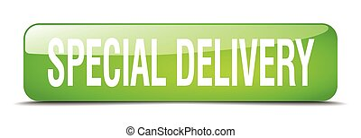 special delivery green square 3d realistic isolated web button